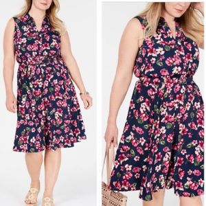 Charter Club Plus Size Belted Floral Print Dress